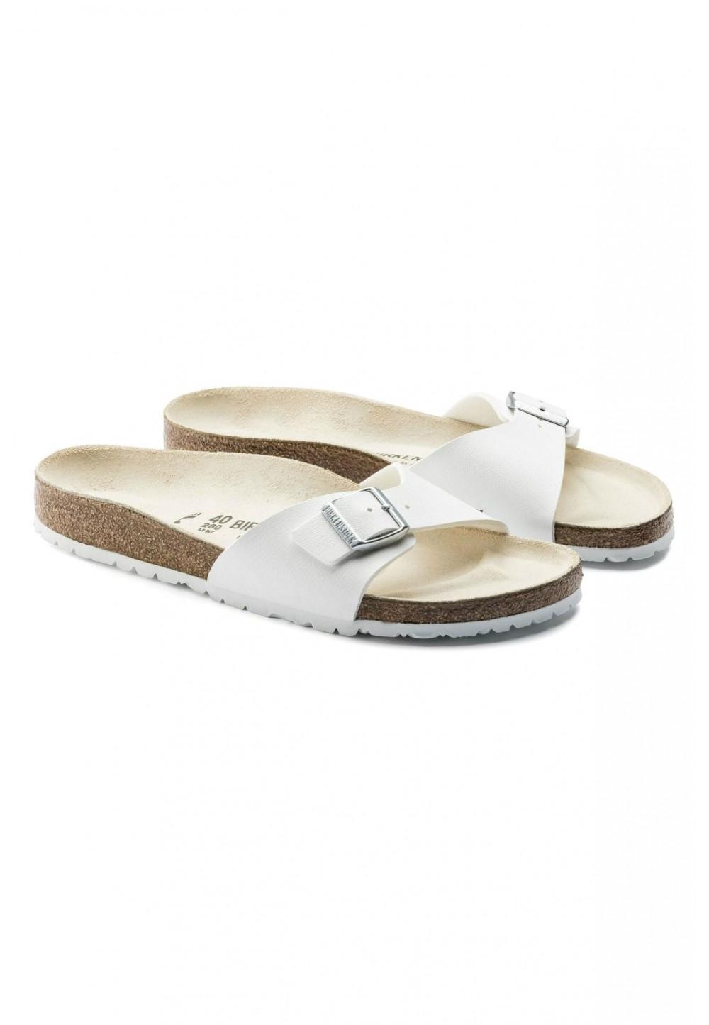 Белые мадридские сандалии с пряжкой