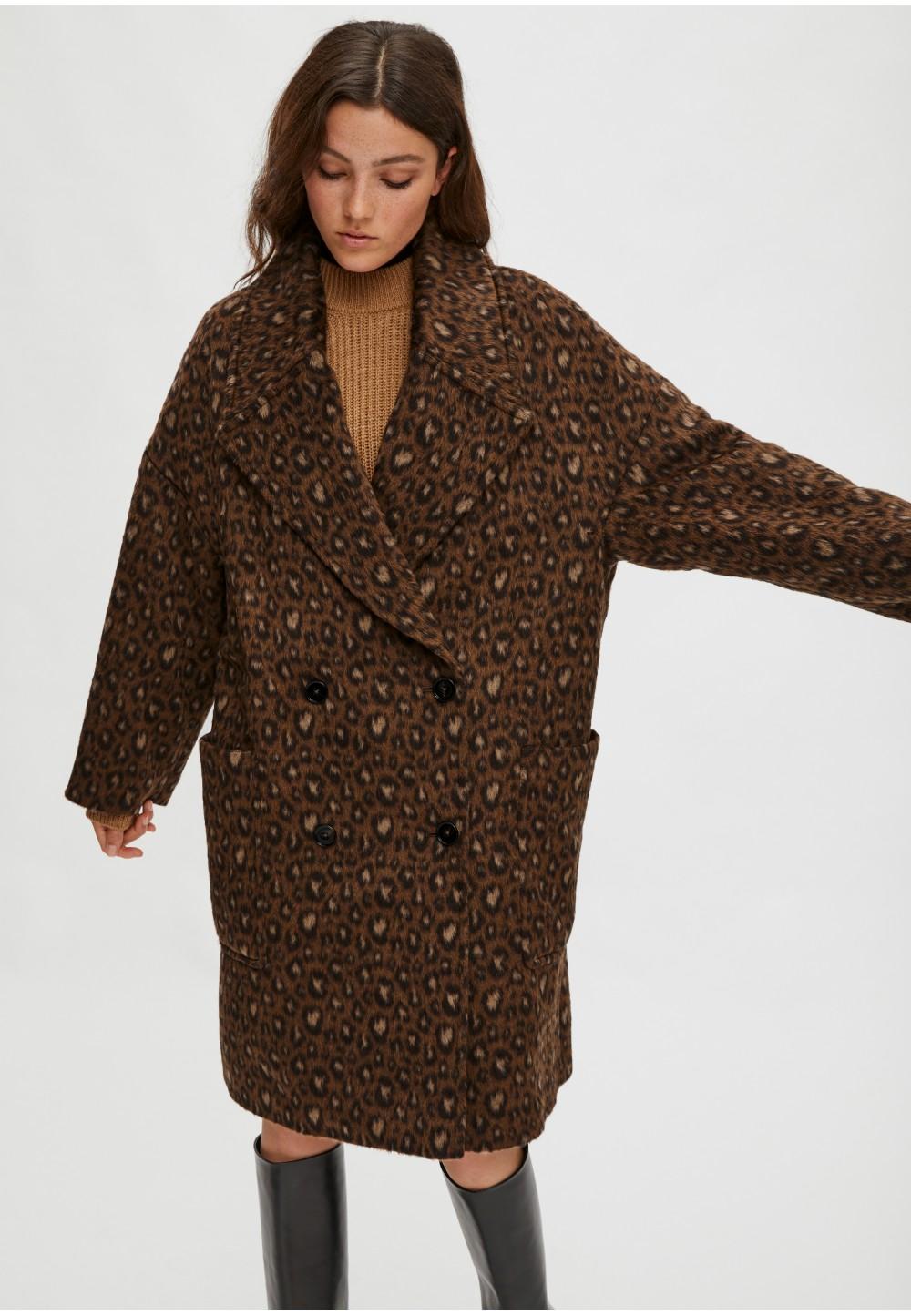 Пальто oversize из жаккарда с леопардовым принтом
