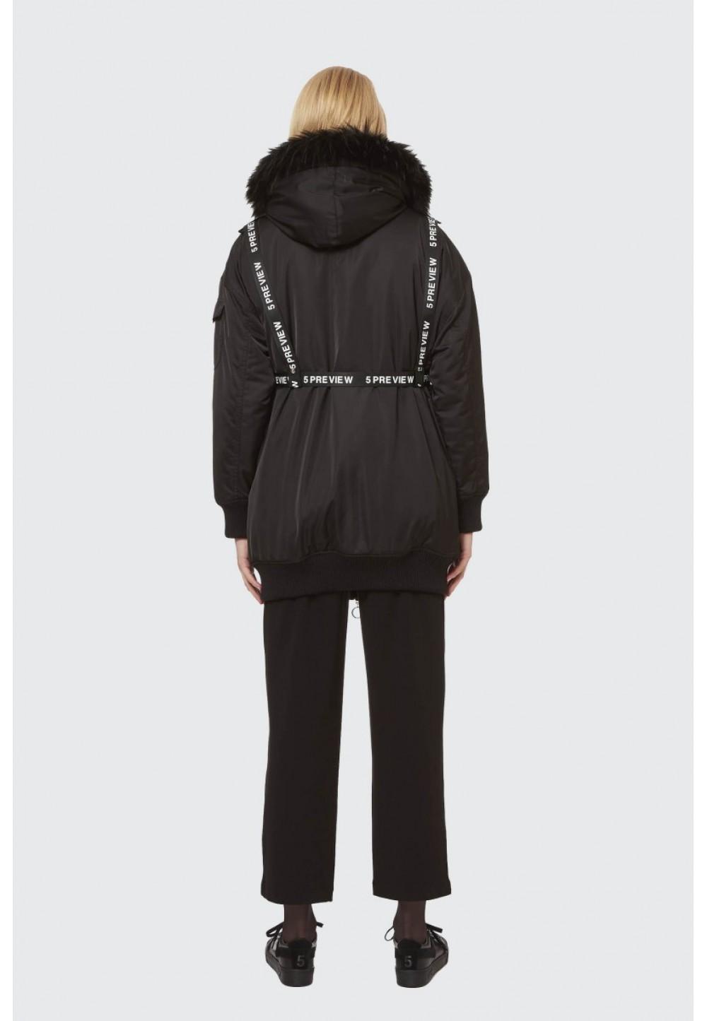 Пальто черное с ремнями