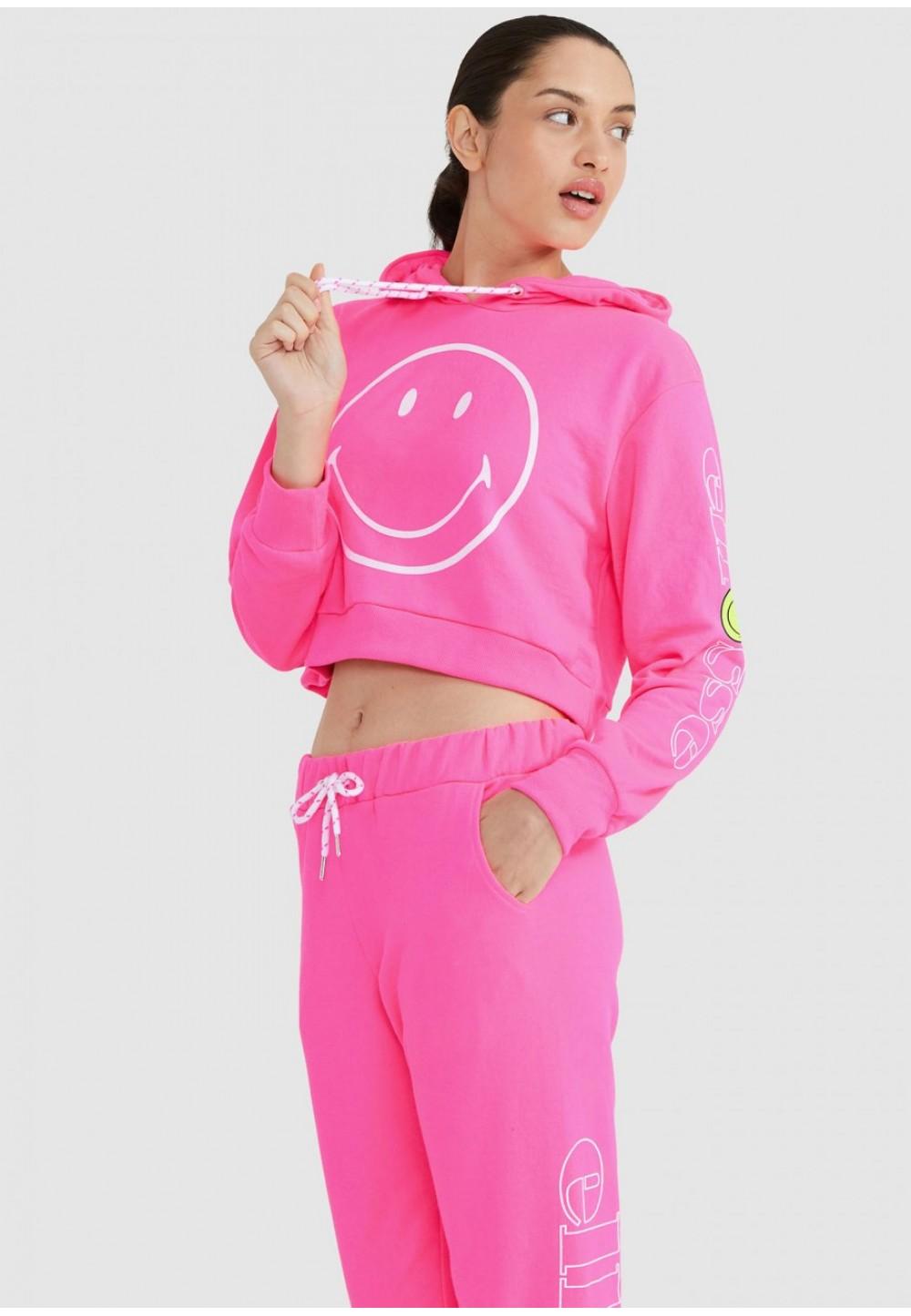Яркий розовый худи