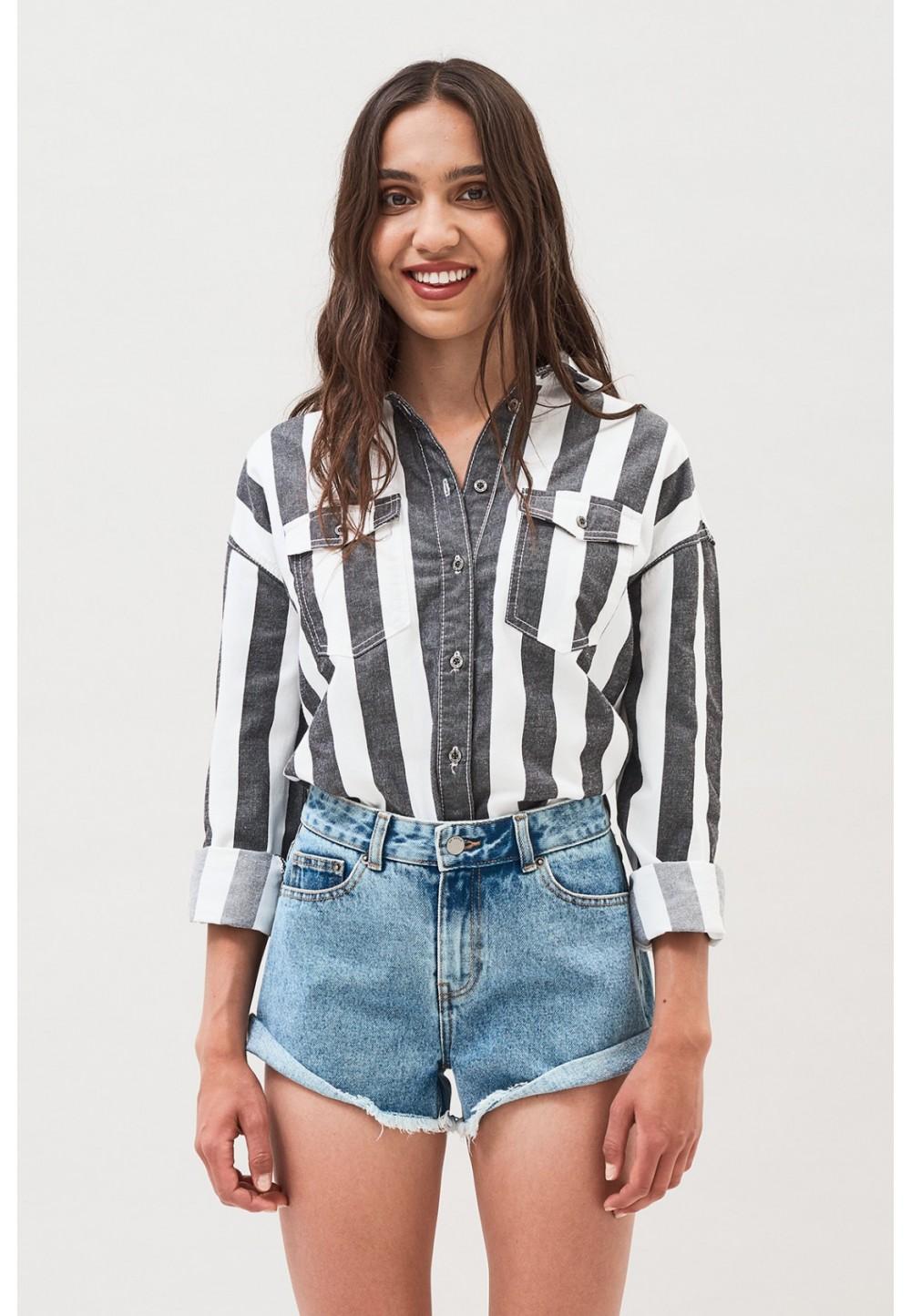 Сорочка джинсова в смужку