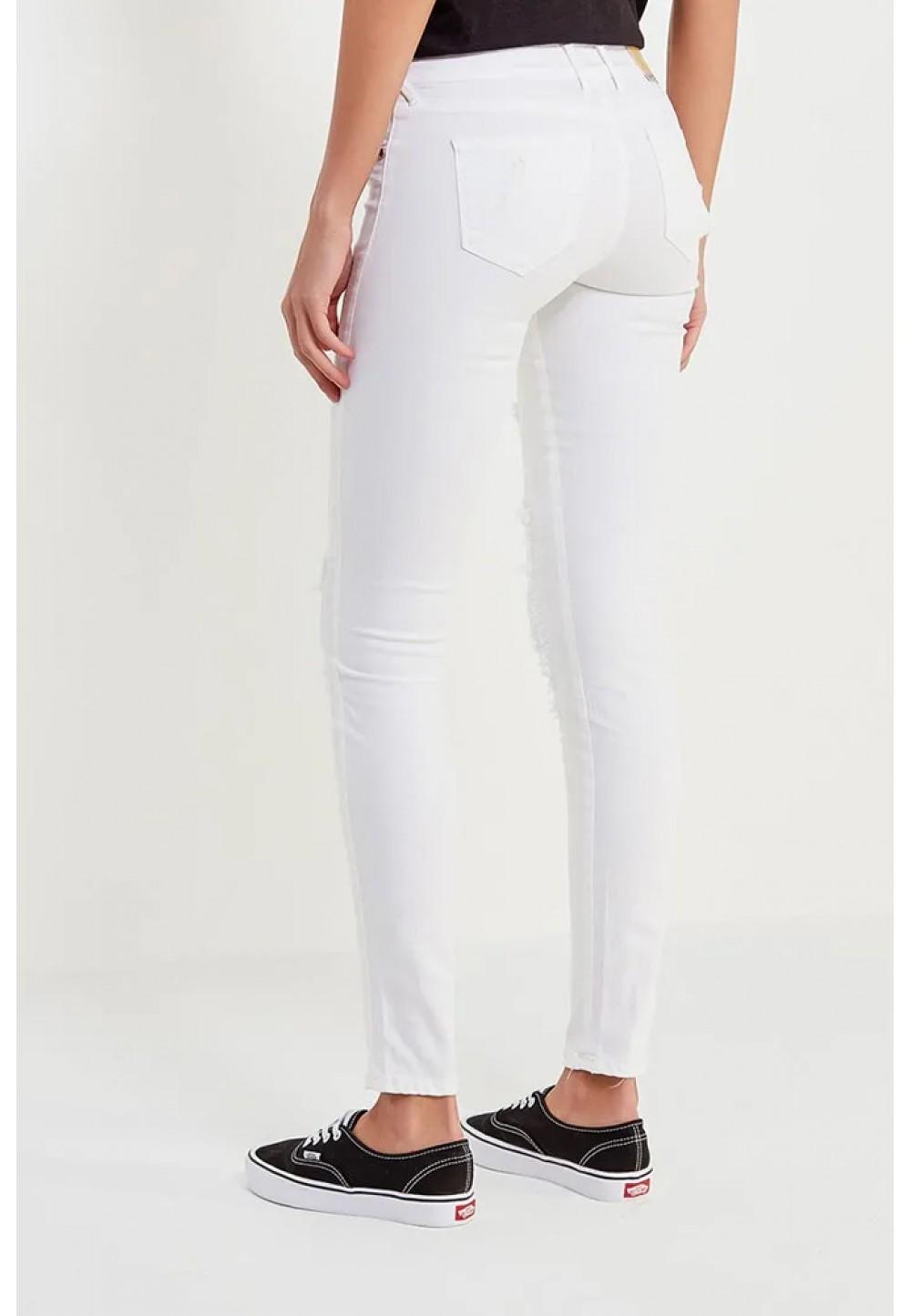 Белые рваные джинсы с сеткой