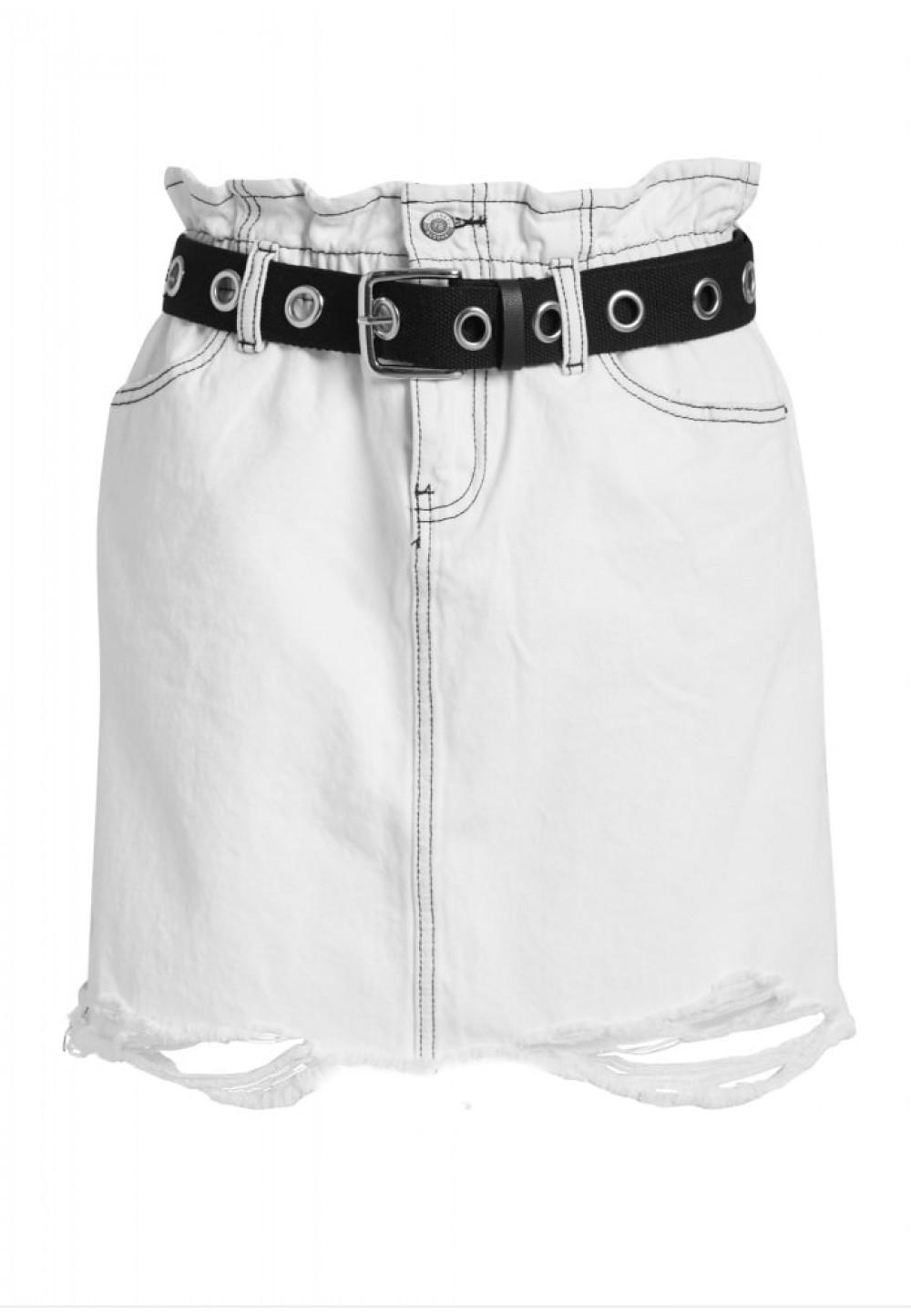 Белая джинсовая юбка с поясом