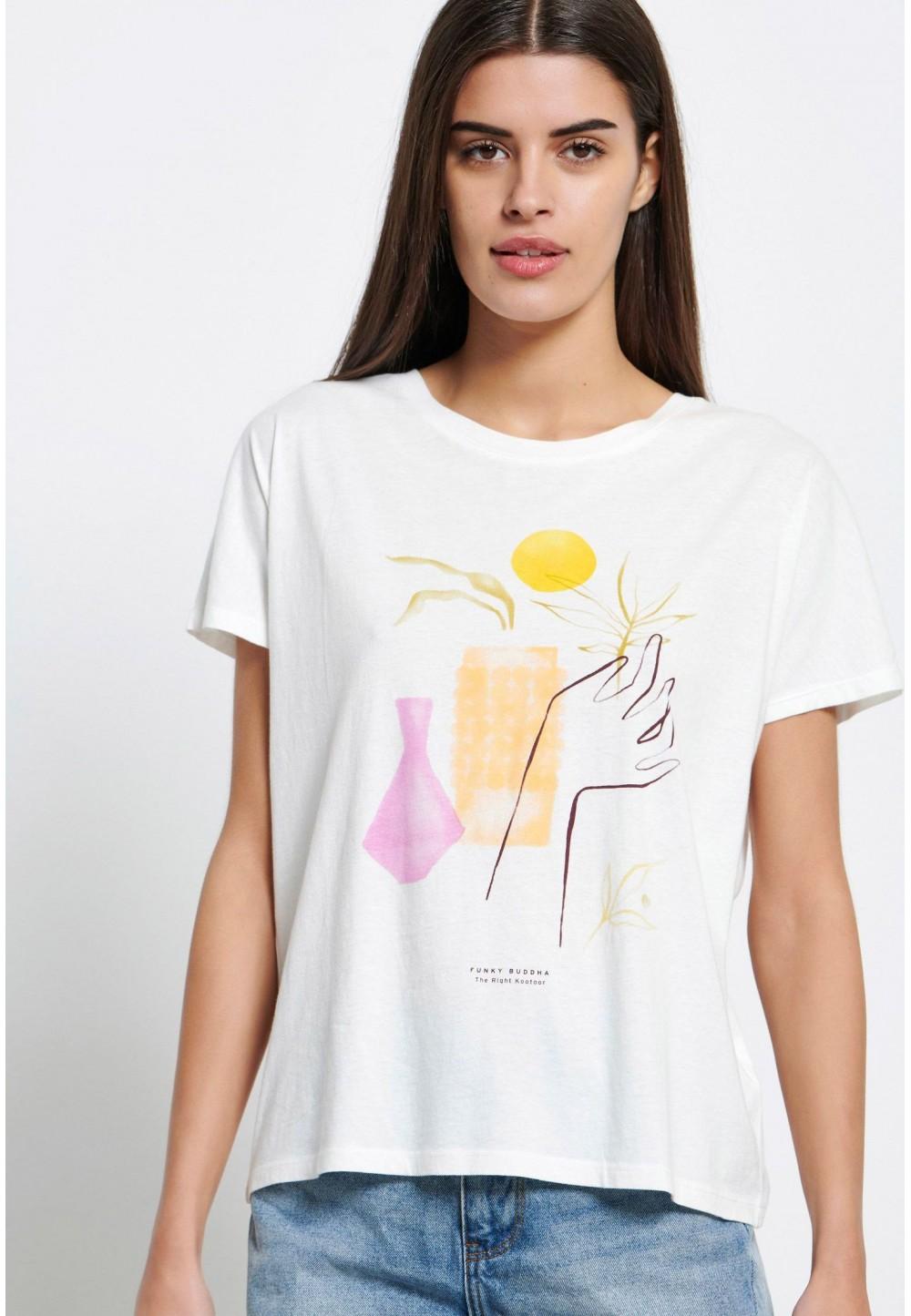 Біла футболка з графічним принтом