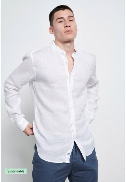 Белая льняная рубашка с воротником Мао