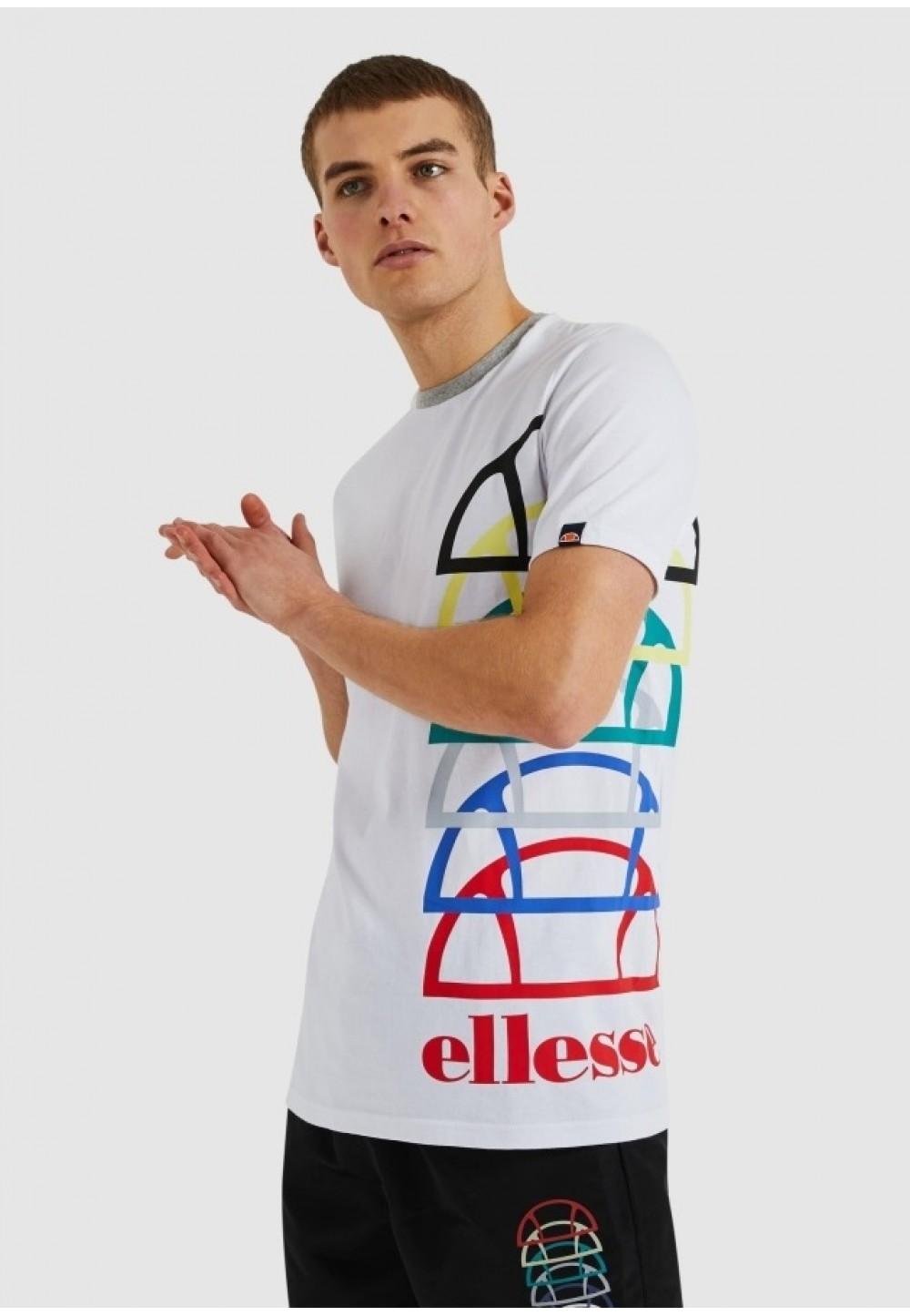 Белая футболка с разноцветным принтом