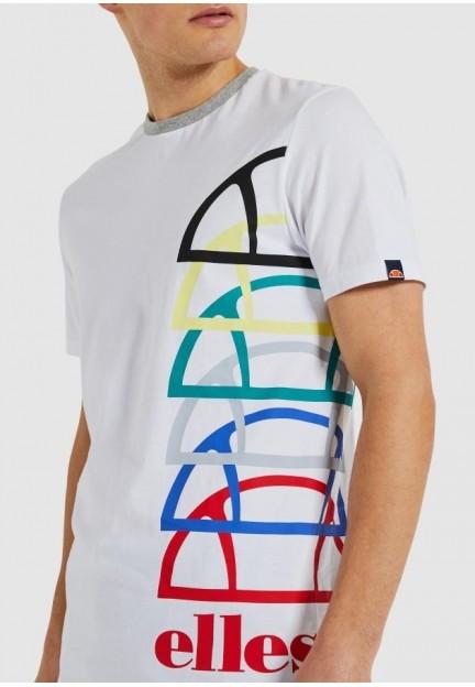 Біла футболка з різнобарвним принтом