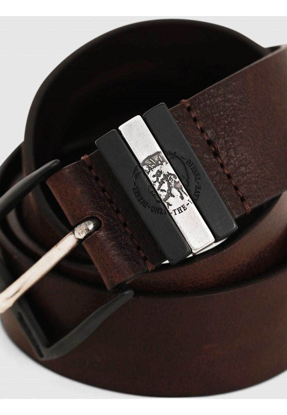 Гладкий кожаный ремень с двухцветной пряжкой