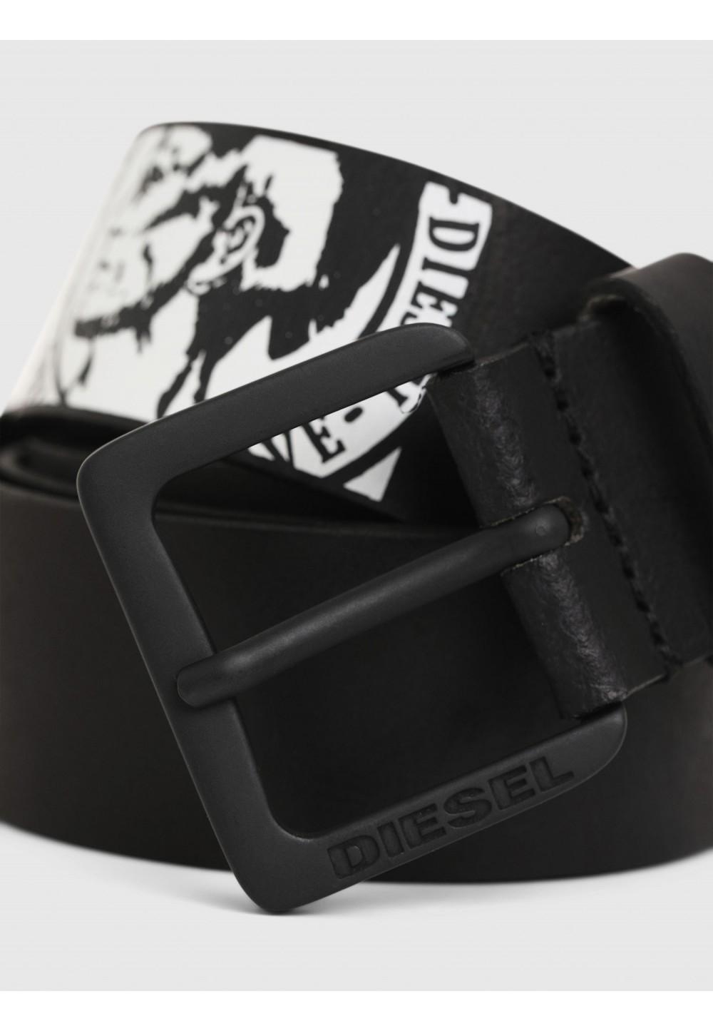 Кожаный ремень с логотипом ирокеза
