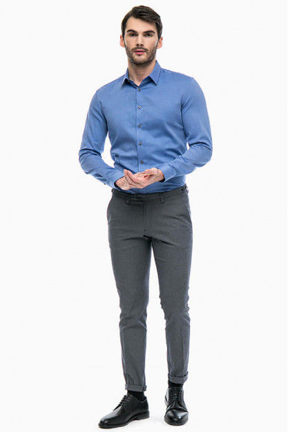 Серые хлопковые брюки