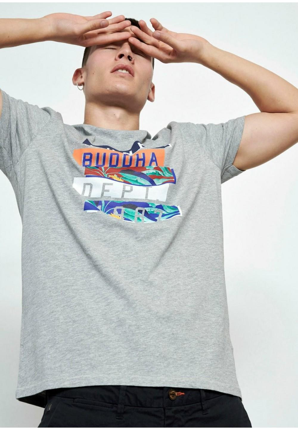 Серая футболка с цветным лого