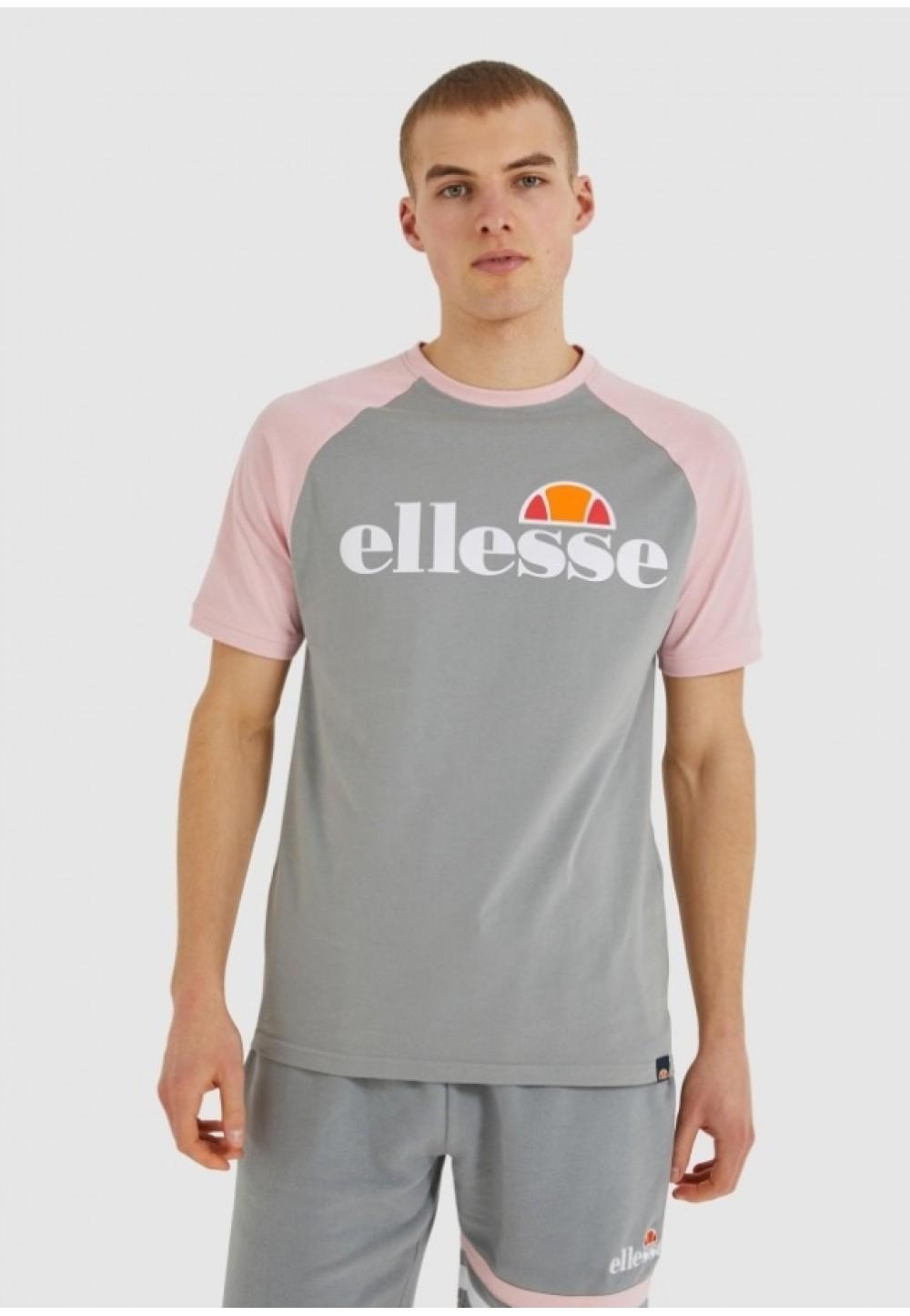 Серая футболка с розовыми рукавами