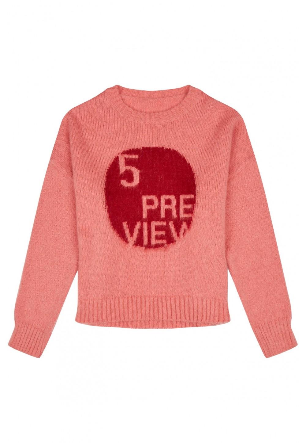 Персиковый свитер с принтом