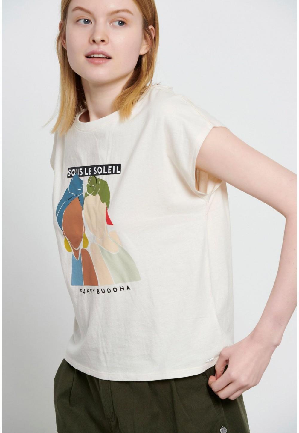 Бежевая футболка с коротким рукавом