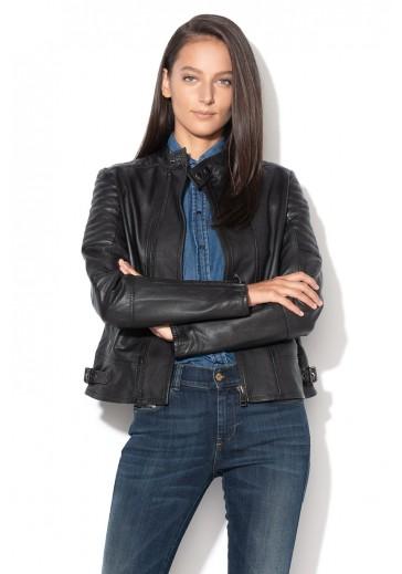 Чорна шкіряна куртка Lily