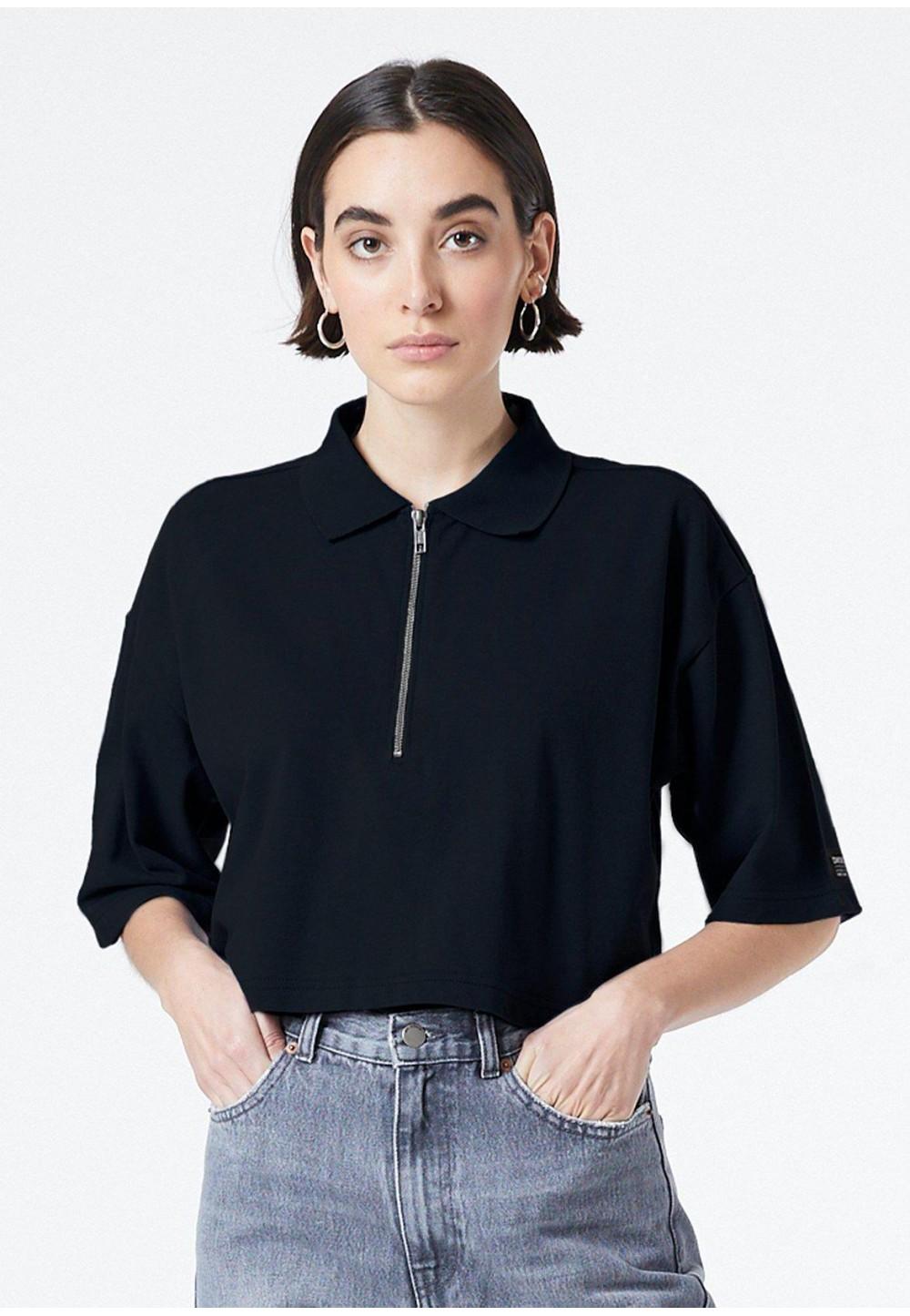 Чорна футболка-поло