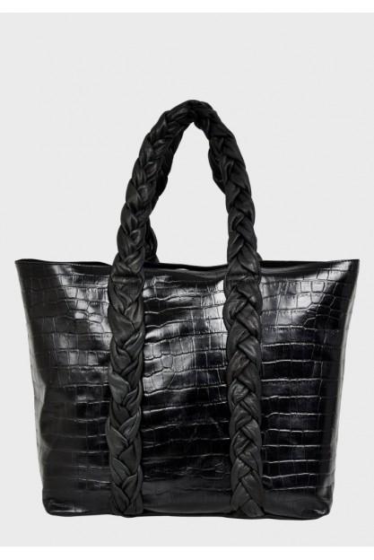 Чорний шкіряний шоппер Shopper croco