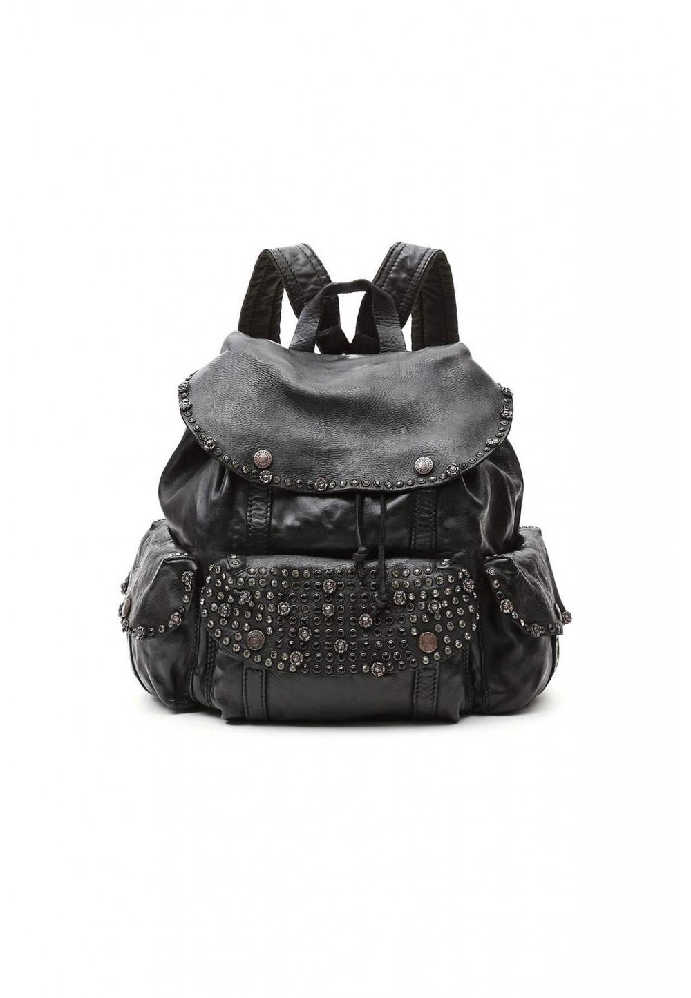 Черный рюкзак с большим карманом