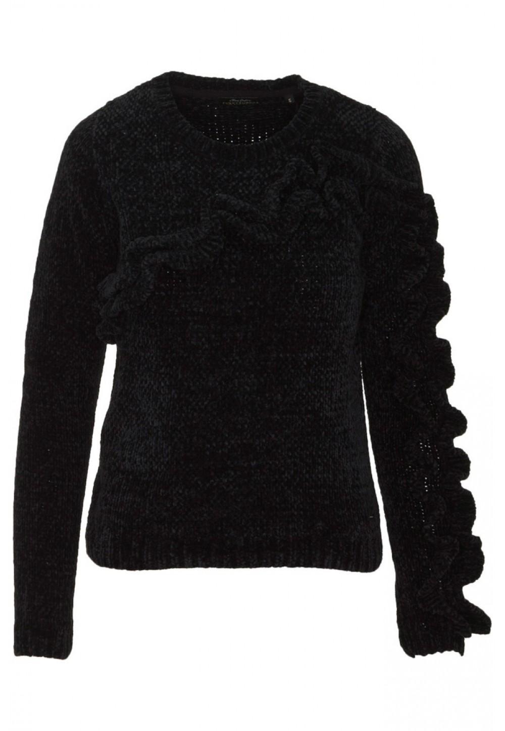 Черный пуловер с рюшами