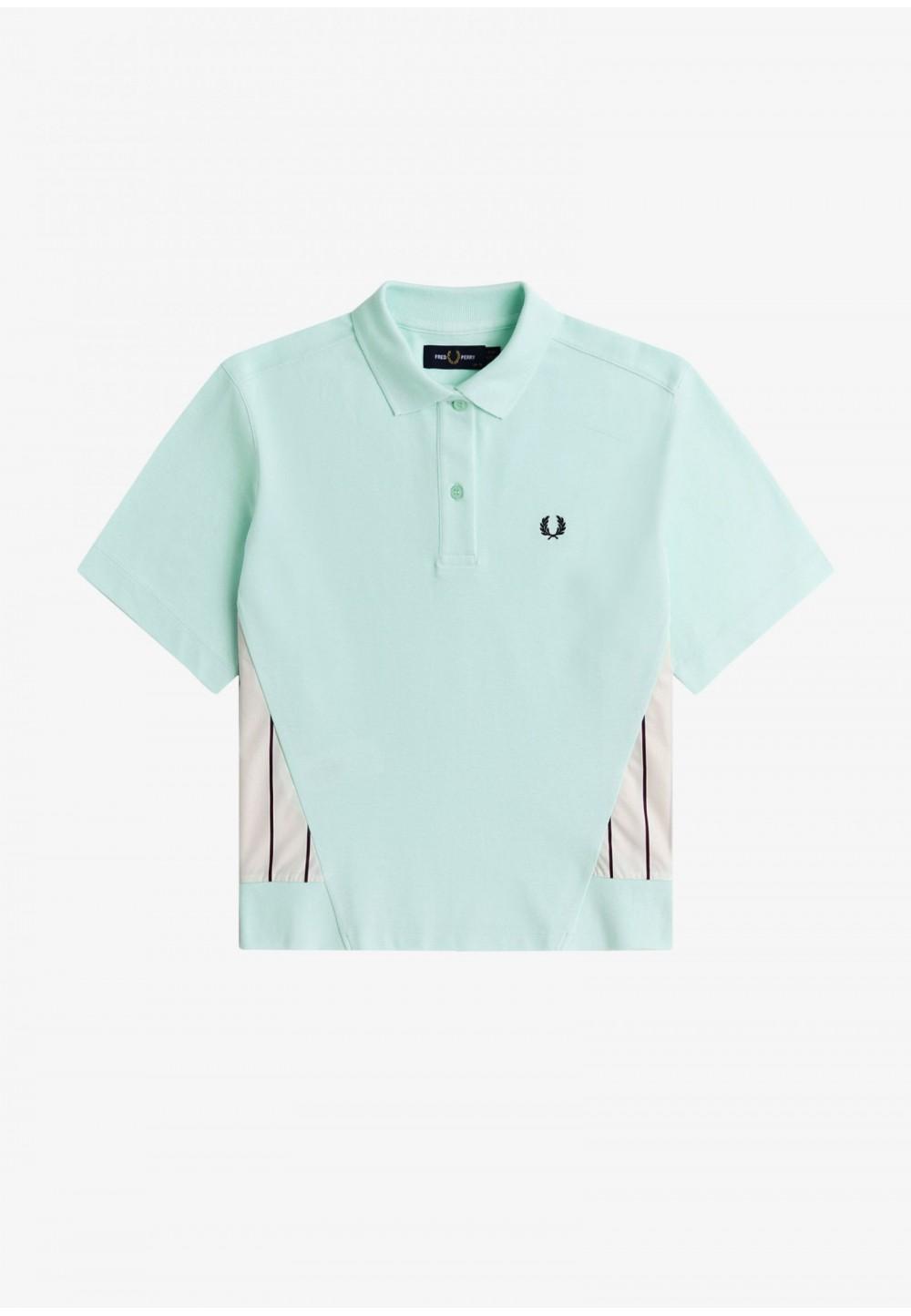 Рубашка-поло с полосатыми вставками