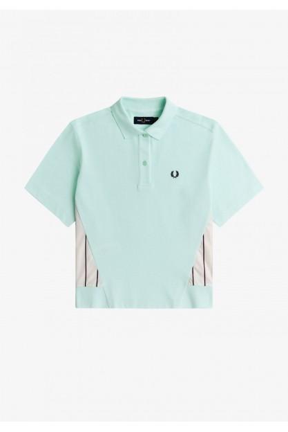 Сорочка-поло з смугастими вставками
