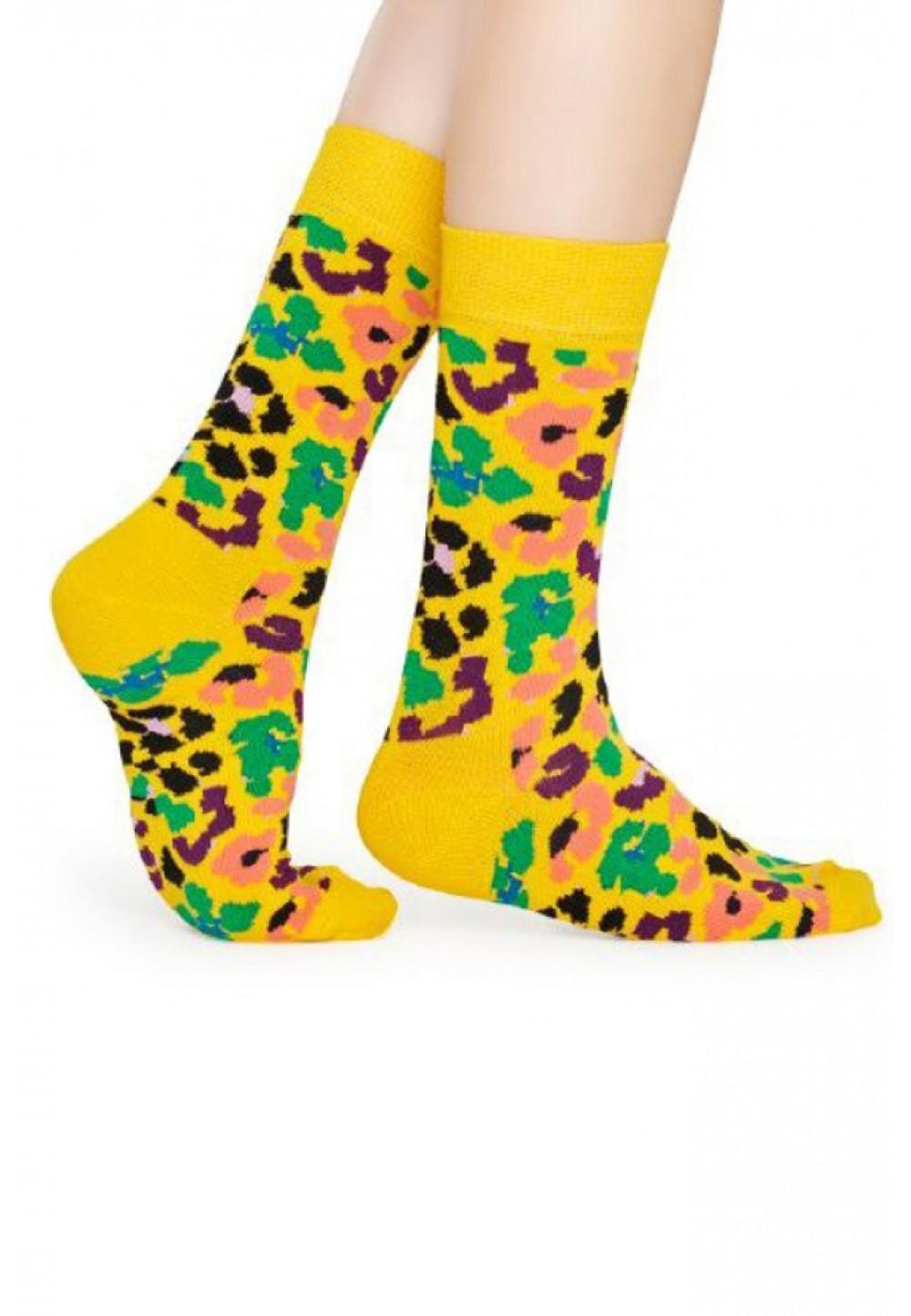 Желтые носки леопард