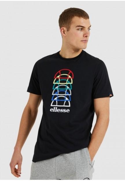 Чорна футболка з різнобарвним принтом