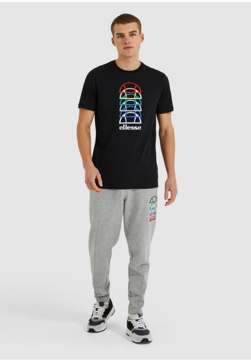 Черная футболка с разноцветным принтом