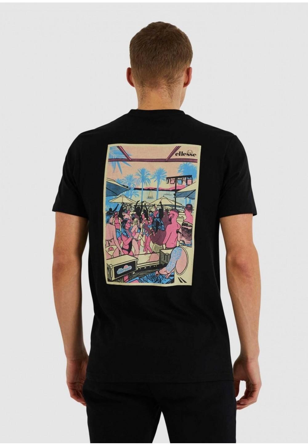 Черная футболка с графическим принтом на спине