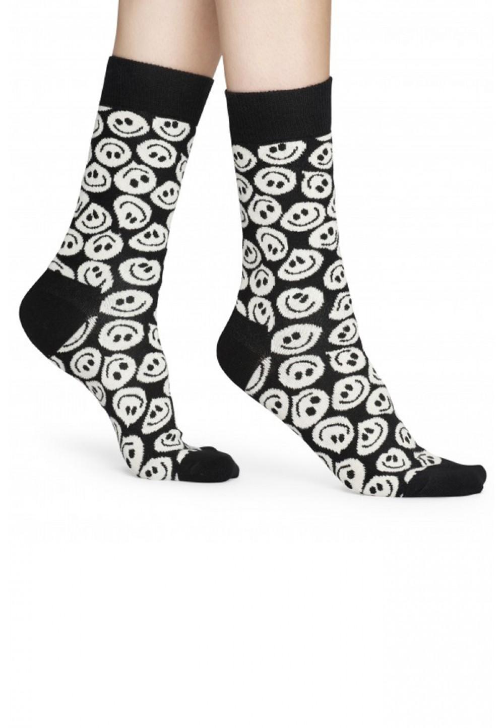 Черно-белые носки со смайлами
