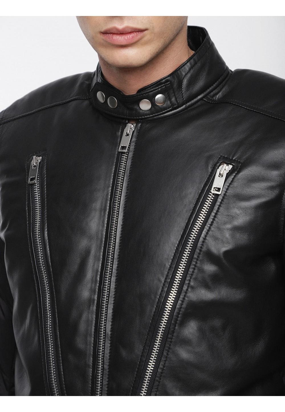 Кожаная куртка с дутыми рукавами