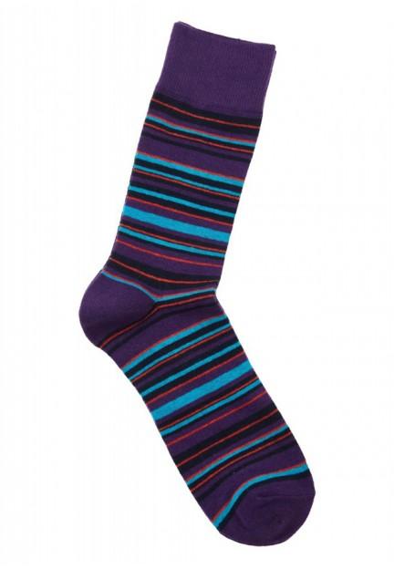 Фіолетові шкарпетки в кольорову смужку