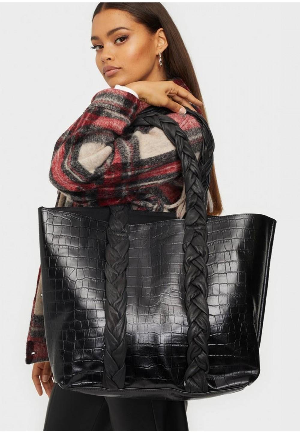 Черный кожаный шоппер Shopper croco