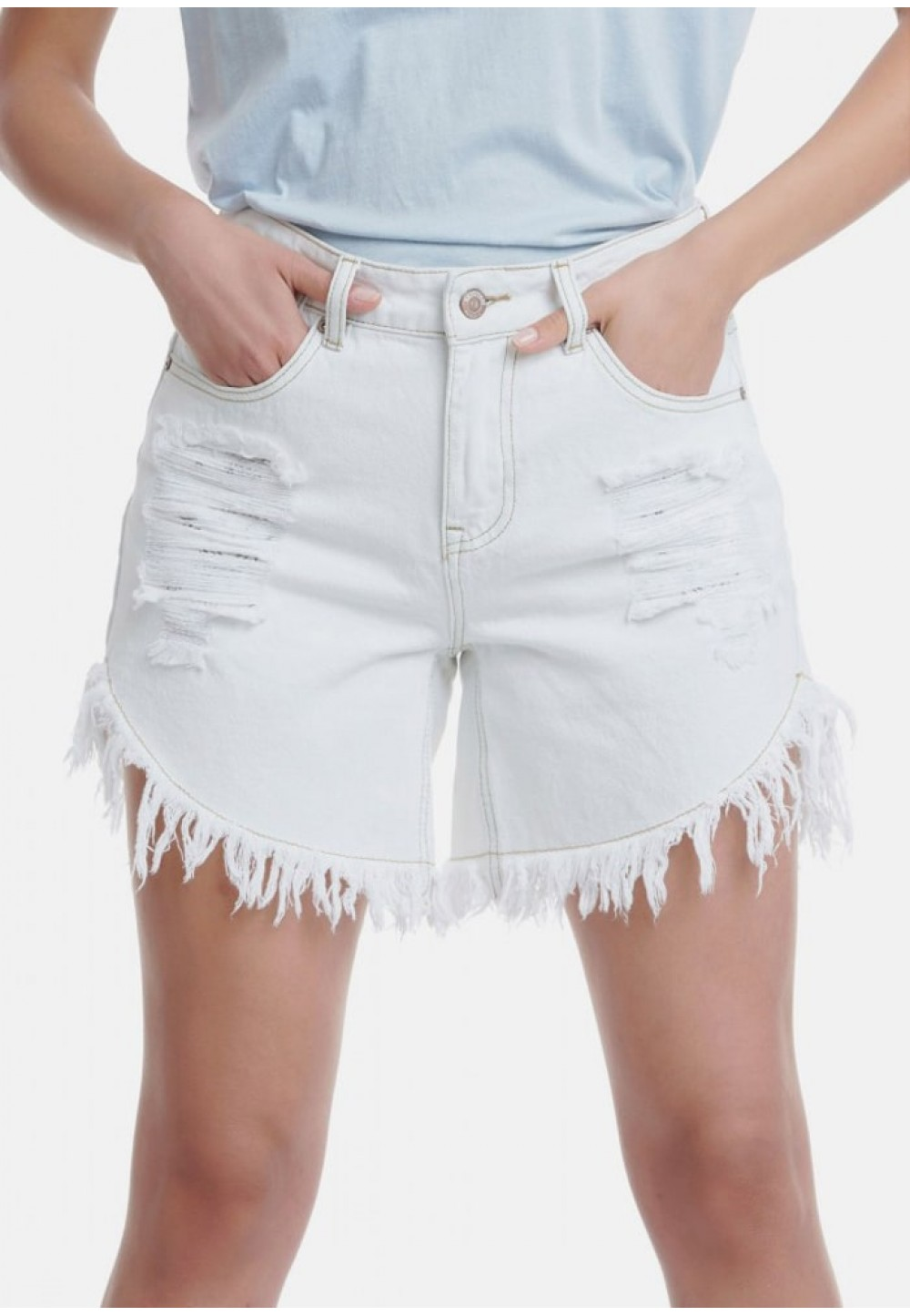 Шорты джинсовые белые с потертостями