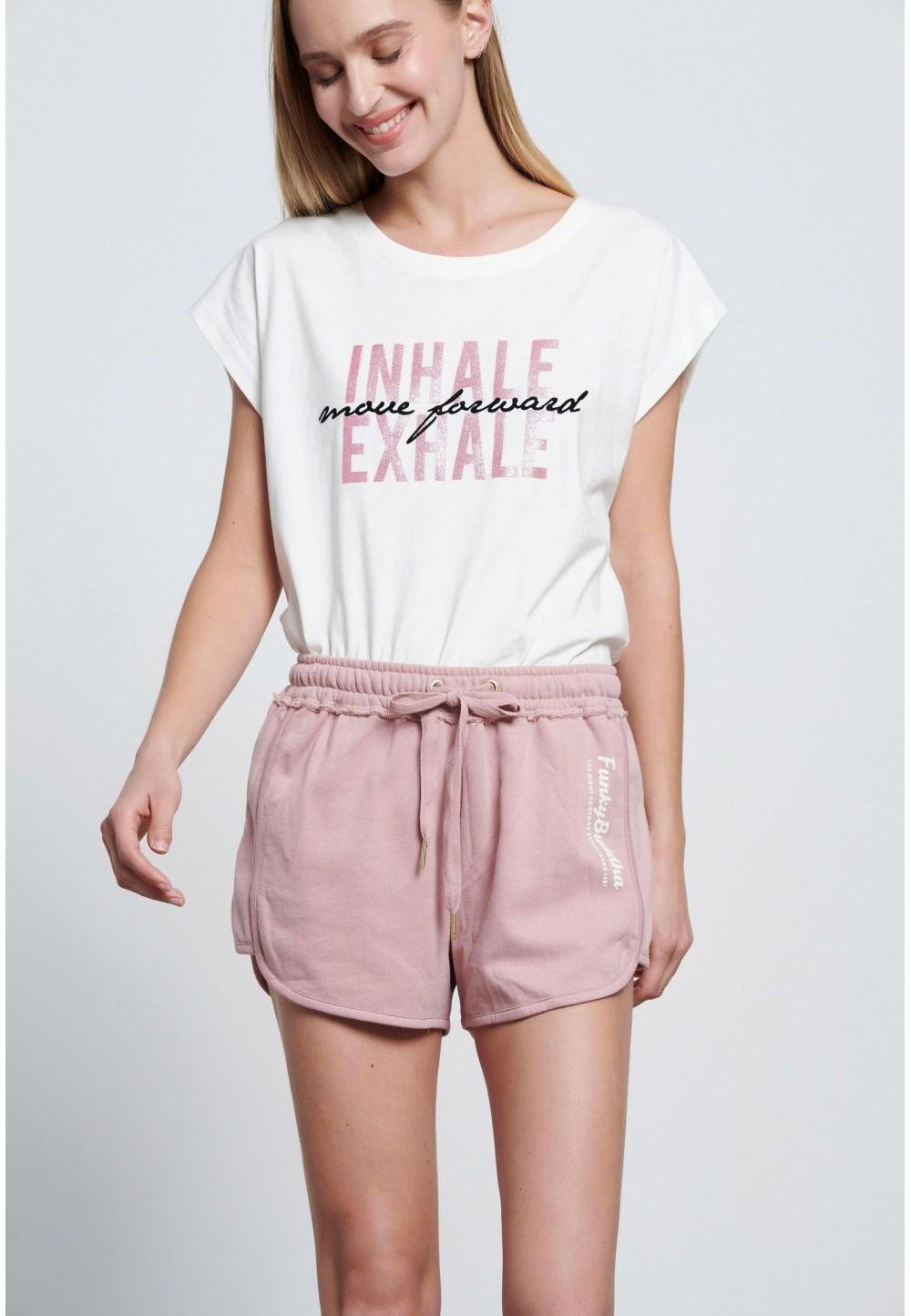 Розовые  шорты-джоггеры с логотипом