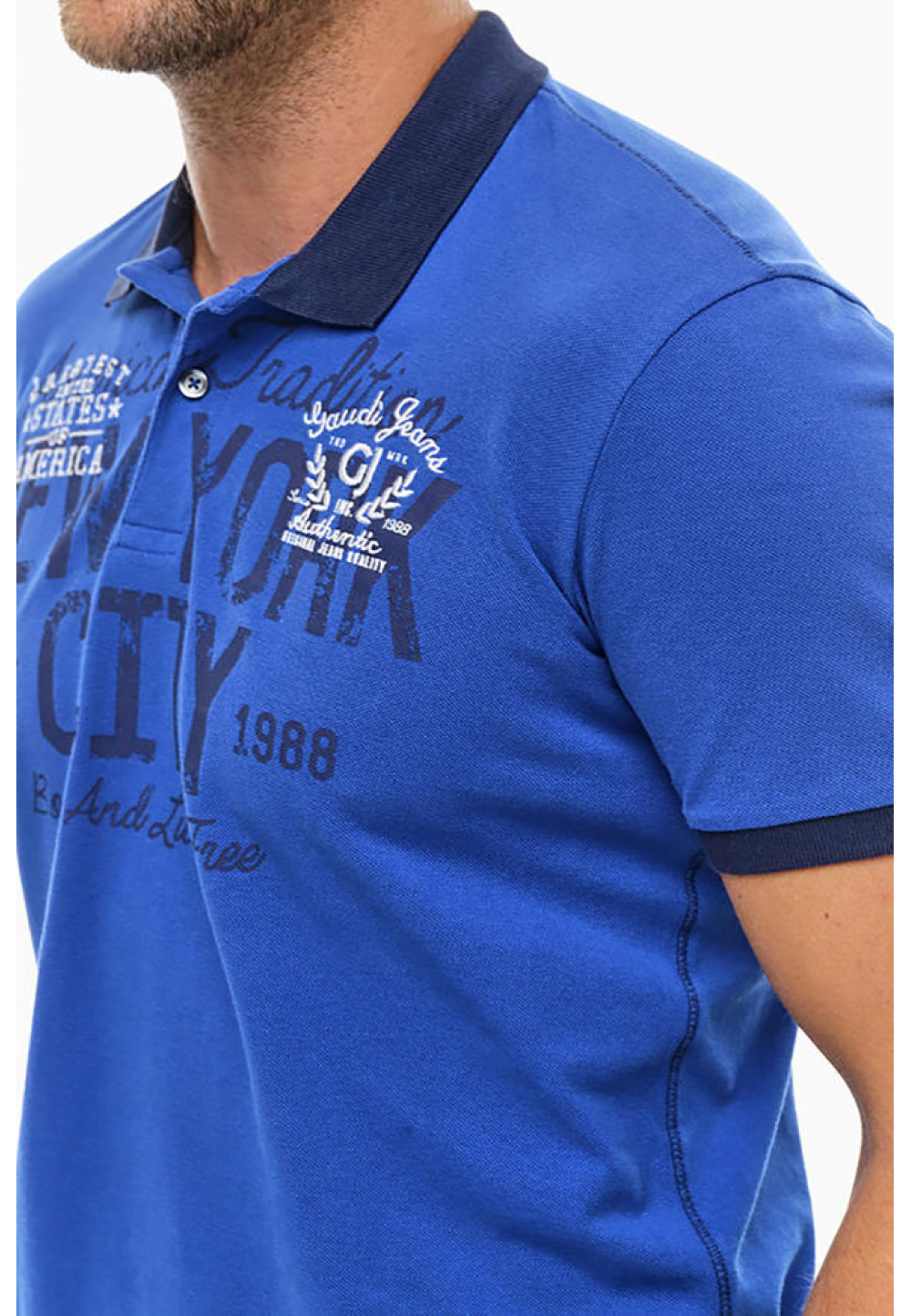 Синее хлопковое поло с отделкой