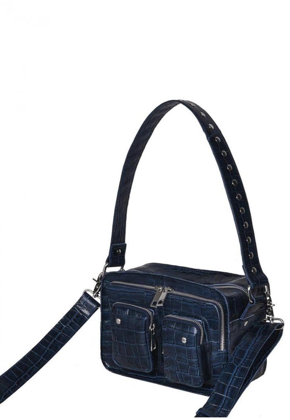 Синяя кожаная женская сумка Ellie croco