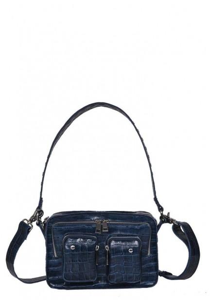 Синя шкіряна жіноча сумка Ellie croco