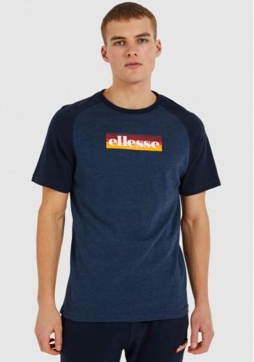 Синяя мужская футболка с логотипом спереди