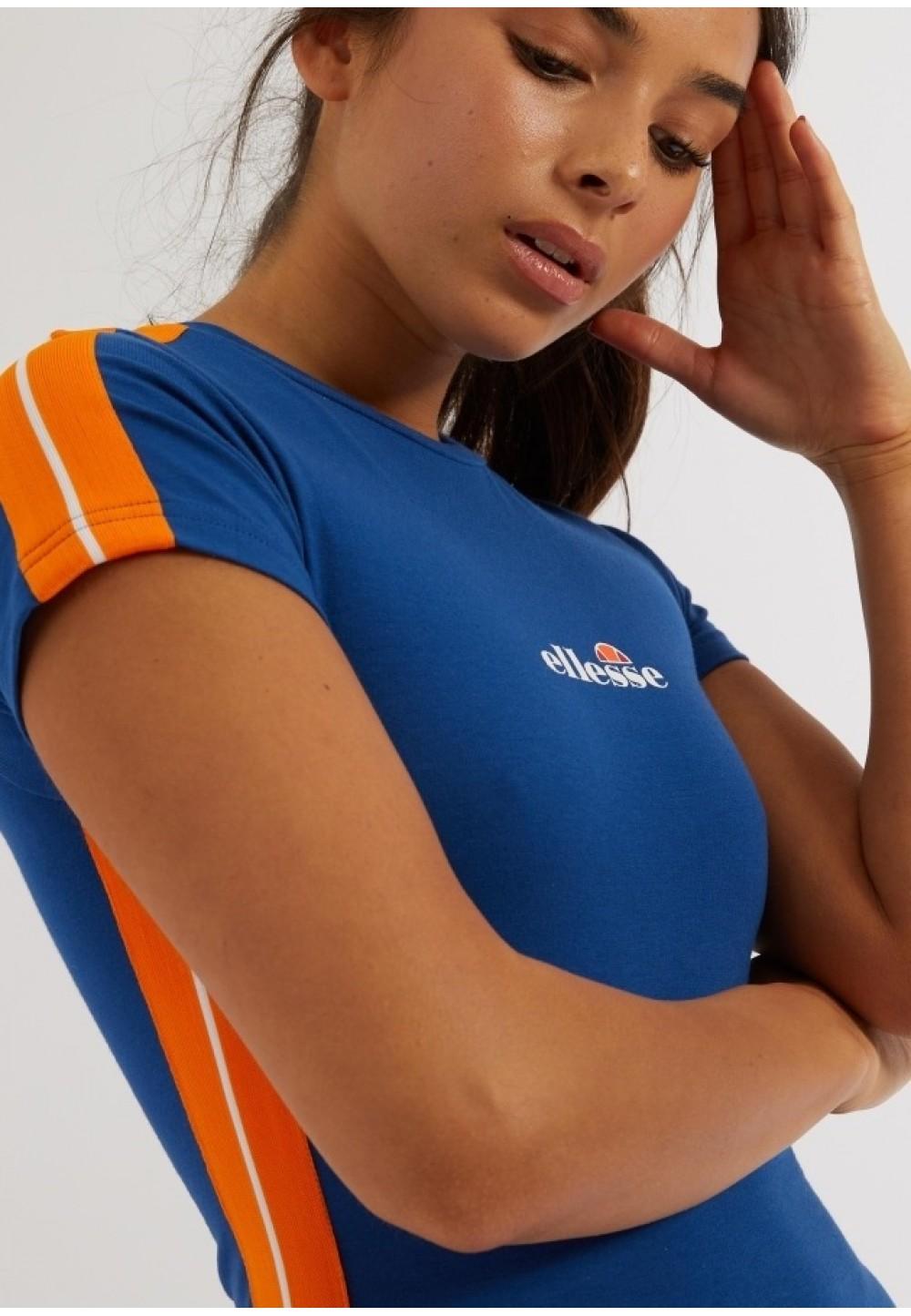Синее платье с оранжевыми вставками