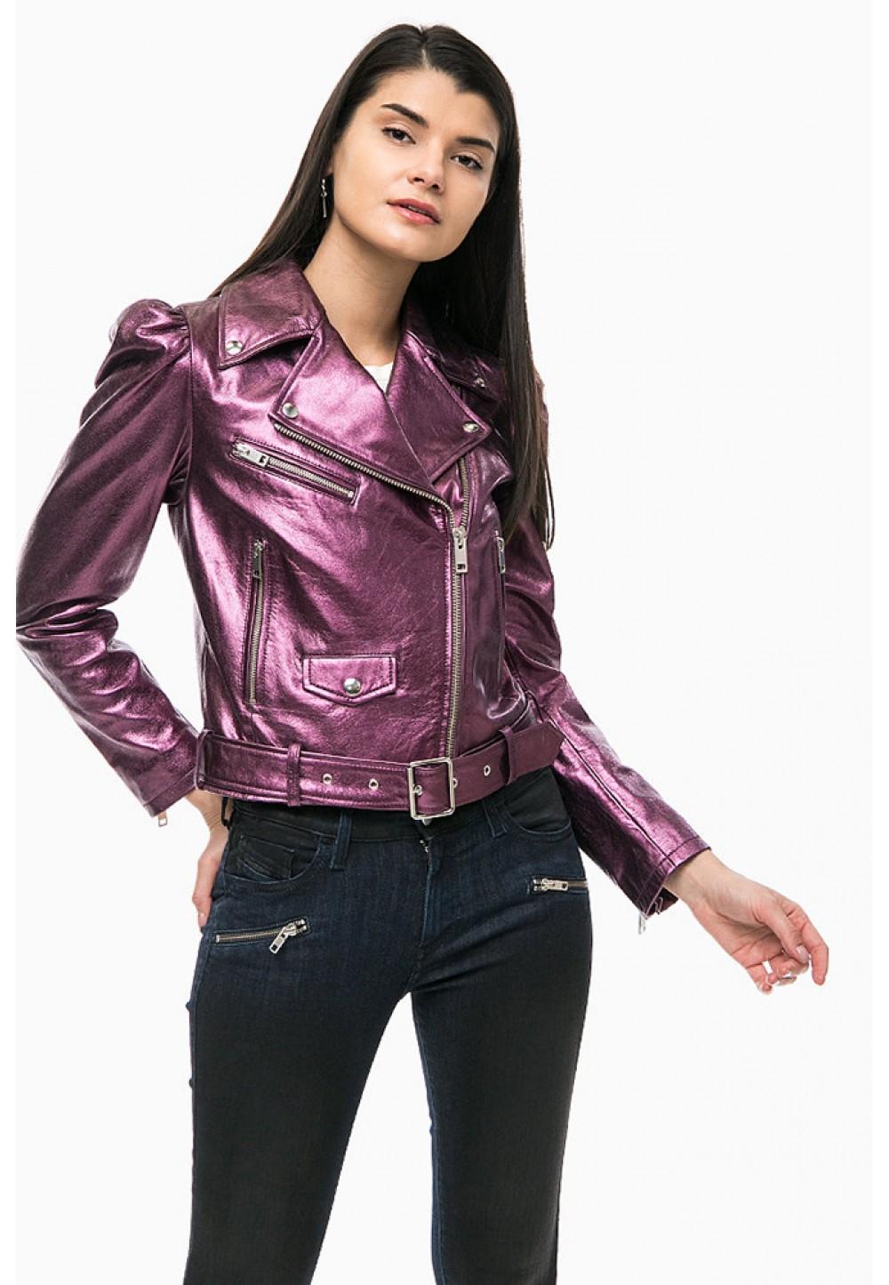 Фиолетовая кожаная куртка косуха