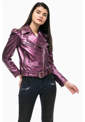 Фіолетова шкіряна куртка косуха