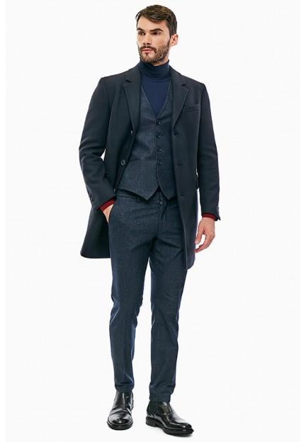 Классическое шерстяное синее пальто