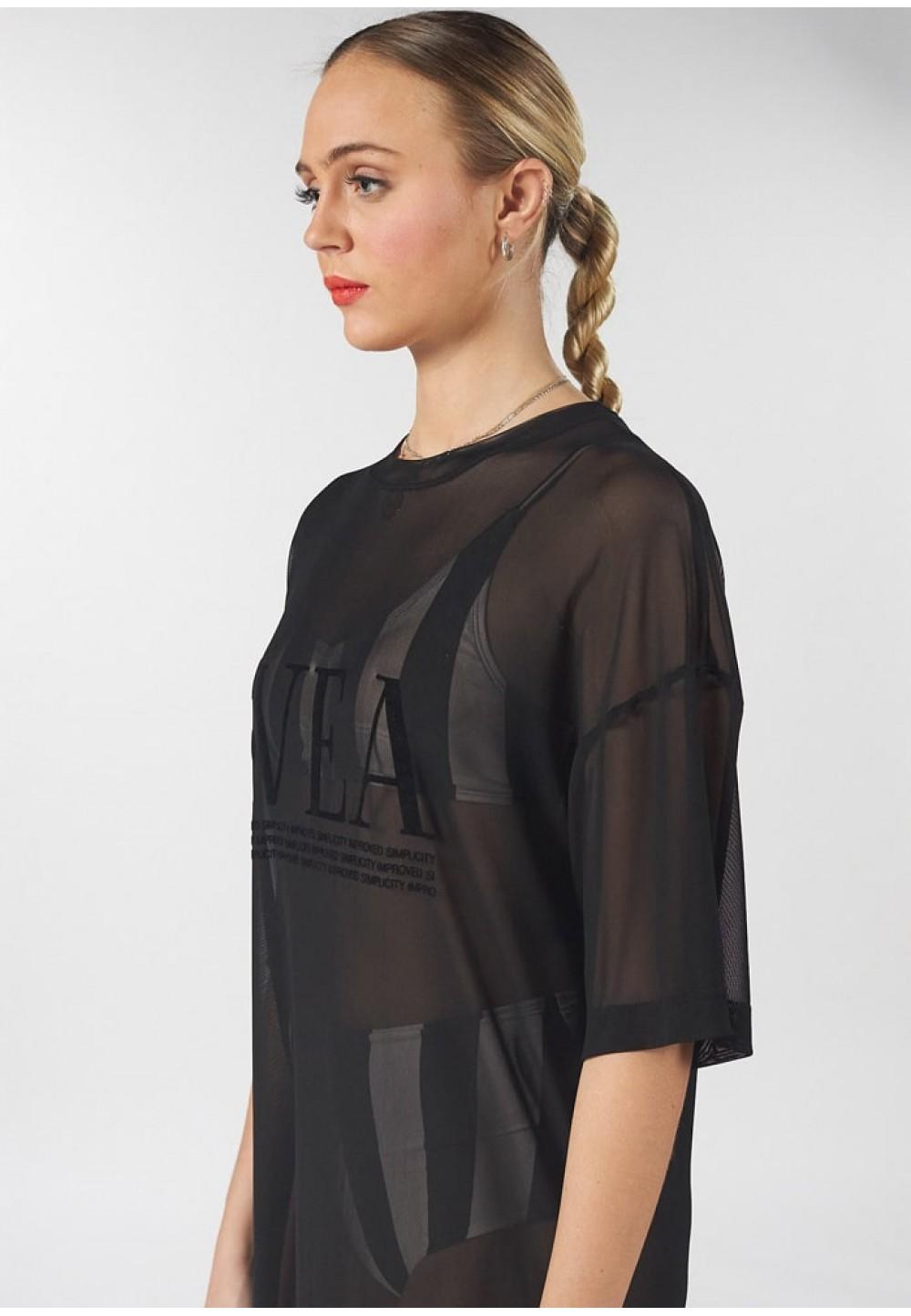 Платье прозрачное черное