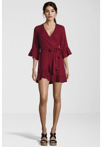 Сукня бордова з глибоким вирізом