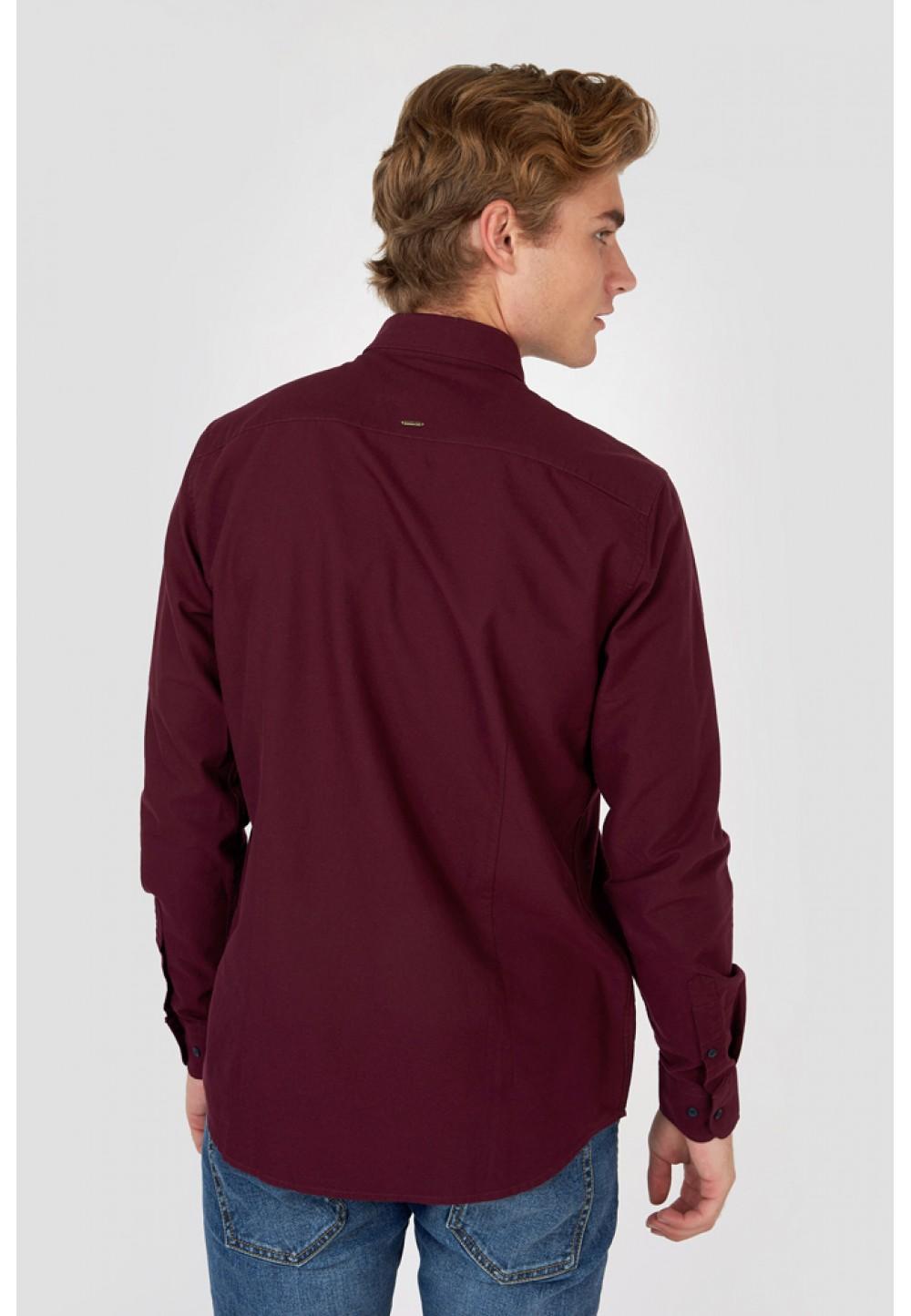 Бордовая классическая рубашка