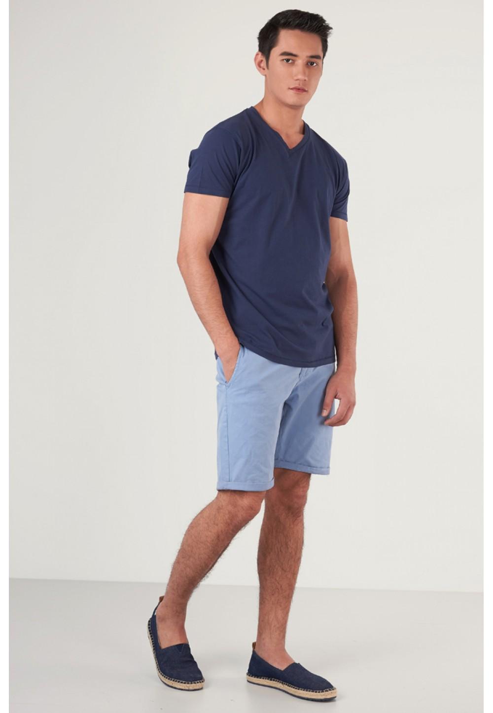 Хлопковые голубые шорты