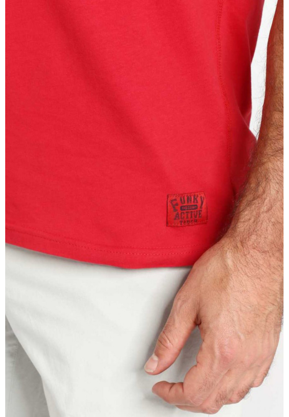 Хлопковая красная футболка с принтом