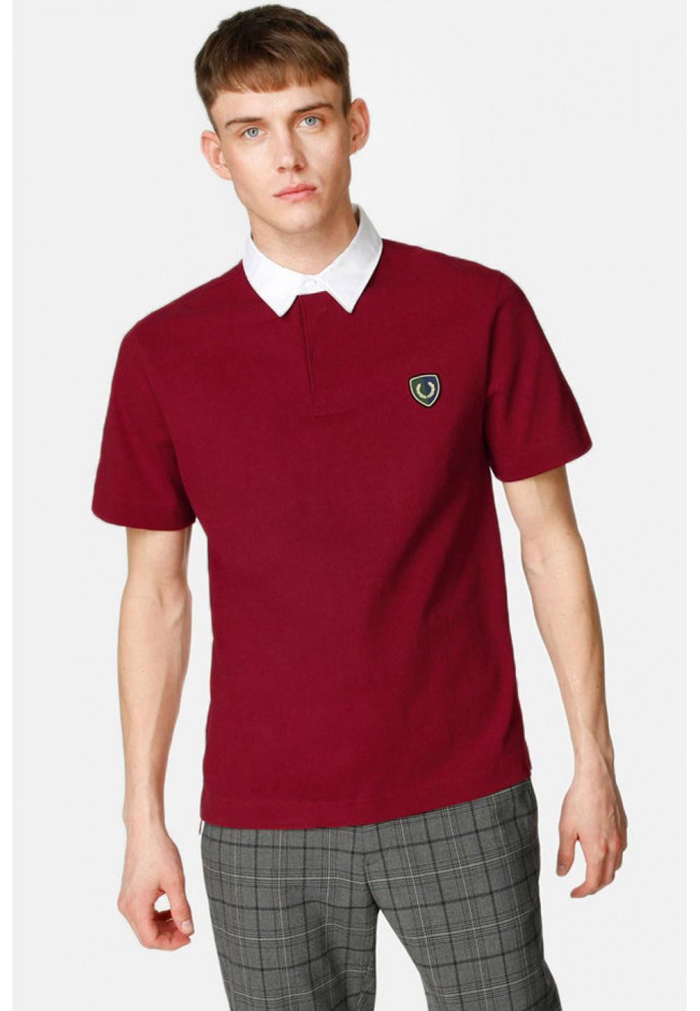Хлопковая красная футболка-поло