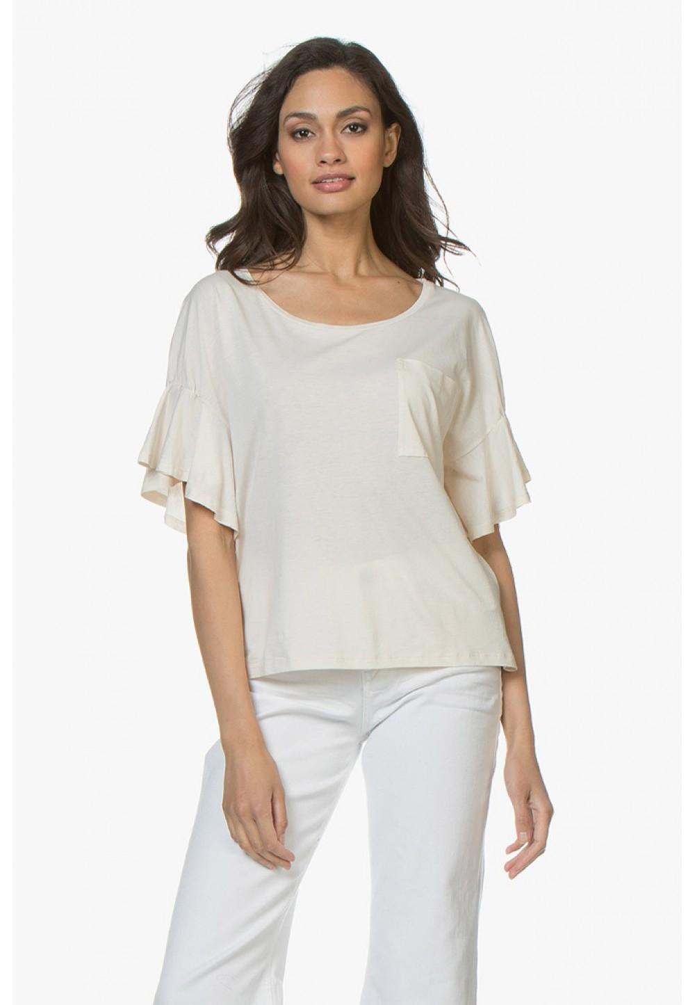 Блуза свободного кроя с воланами